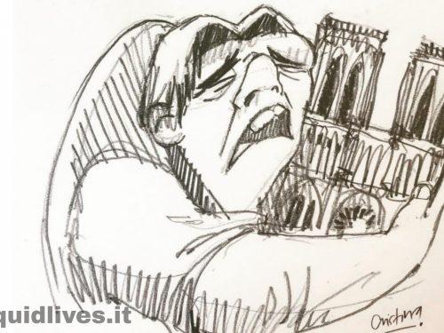 Il dolore di Parigi e del mondo intero per l'incendio di Notre Dame è racchiuso in questo disegno